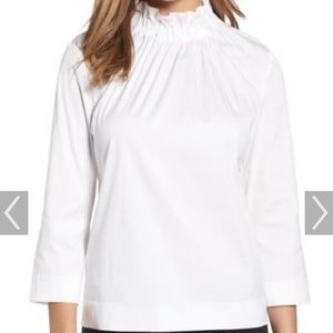 Halogen Gathered High Neck White Blouse XS EUC